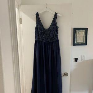 Beaded bodice floor length gown